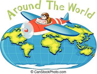 Pilot flying plane around the world