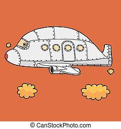 Pilot Flying Plane - Airplane pilot flying empty jet over...