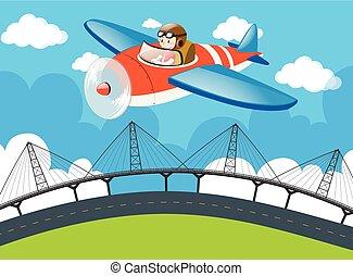Pilot flying plane over the bridge