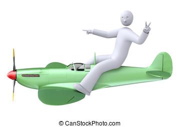 Pilot flying the airplane - Cartoon aircraft, test pilot...