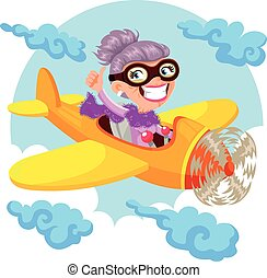 pilot granny - cartoon old lady flying an airplane