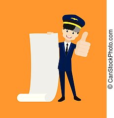 Pilot - Holding a Paper Scroll and Showing Thumbs Up
