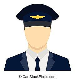Pilot icon, flat style