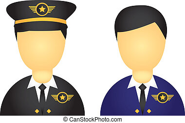 pilot icons - pilot with suit and hat icons isolated over ...
