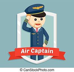 pilot in emblem illustration design
