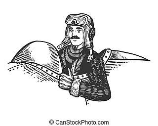 Pilot in plane engraving vector illustration