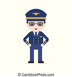 Pilot in uniform, Set Profession character of people in uniform, flat design