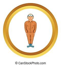 Pilot military uniform in khaki colors vector icon