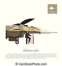 Pilot of a military aircraft preparing for the flight. War...