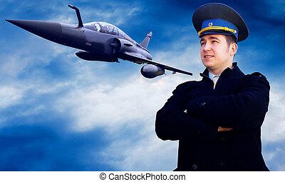 pilot, og, militær, airplan, på, den, hastighed