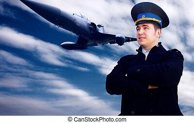 pilot, og, militær flyvemaskine, på, den, hastighed