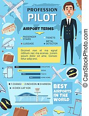 Pilot profession, airport and plane
