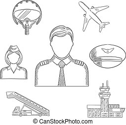Pilot profession and aircraft sketched icons set