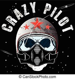 Pilot Skull T shirt Graphic Design