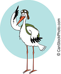 pilot stork - stork with pilot goglges ready for flight