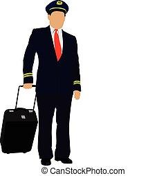 pilot, suitcase., vektor, illust