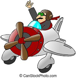 Pilot Waving From A Small Airplane - This illustration...