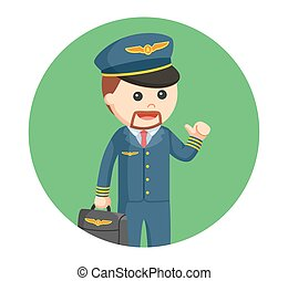 pilot with briefcase illustration design in circle background