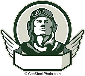 Illustration of a vintage world war one pilot airman aviator bust looking up viewed from front with winged scroll in front set inside circle done in retro style.