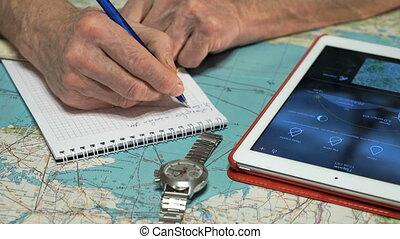 pilota, è, osservare, il, tempo, su, tavoletta digitale