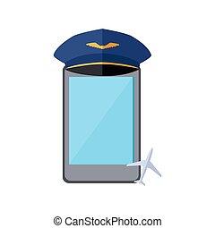 pilota, berretto, isolato, telefono