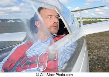 pilota, di, uno, piccolo, aerobatic, aereo, seduta, in, il, abitacolo