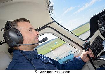 pilota, in, abitacolo, di, aereo