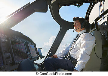 pilota, in, abitacolo, di, elicottero, durante, volo