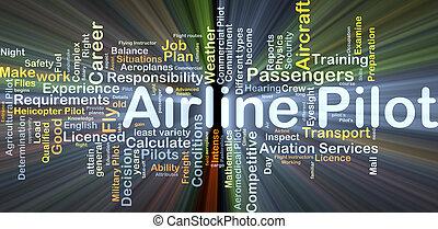pilota linea aerea, fondo, concetto, ardendo
