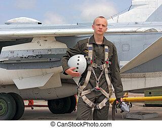 pilota militare, in, uno, casco, appresso, il, aereo