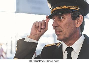 pilota, situating, calma, aerodromo