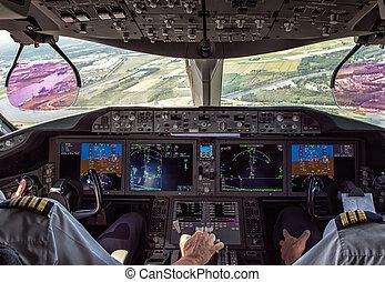 pilote, avion, commercial, copilote