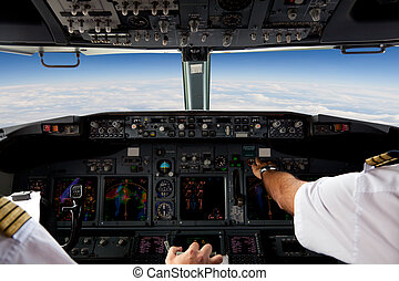 piloten, arbeitende , in, ein, flugzeug, während, a,...