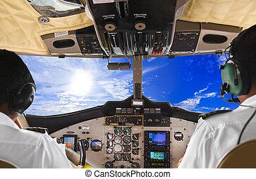 piloten, in, der, eben, cockpit, und, himmelsgewölbe