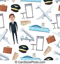piloto, avião, padrão, seamless, aeroporto, linha aérea