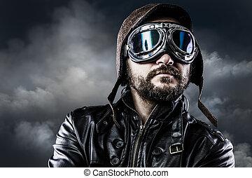 1988b46540 piloto, com, óculos, e, vindima, chapéu, com, orgulhoso,