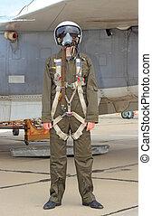 piloto militar, em, um, capacete, perto, a, aeronave