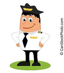 piloto, plano de fondo, blanco