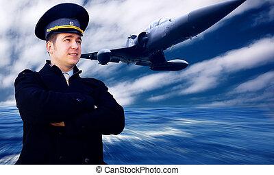 piloto, y, avión militar, en, el, velocidad