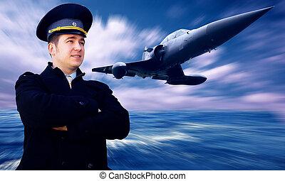 piloto, y, militar, airplan, en, el, velocidad
