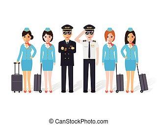 pilotos, y, vuelo, attendants