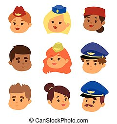 Pilots and stewardess vector head illustration airline character plane personnel staff air hostess flight attendants people command.