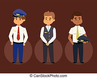 Pilots and stewardess vector illustration airline character plane personnel staff air hostess flight attendants people command.