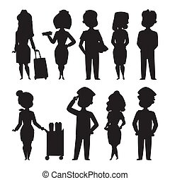 Pilots and stewardess vector silhouette illustration airline character plane personnel staff air hostess flight attendants people command.