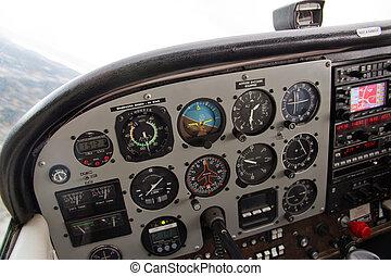pilot's, ansicht, von, komplex, armaturenbrett, von, kleines flugzeug