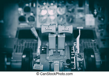 pilot's, avión, palanca, empuje, cabin., vista