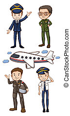 Illustration of pilots and airplane
