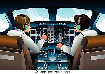 Pilots in Cockpit - A vector illustration of pilot and...