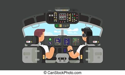 Pilots in cockpit flat design animation - Pilots in cockpit...
