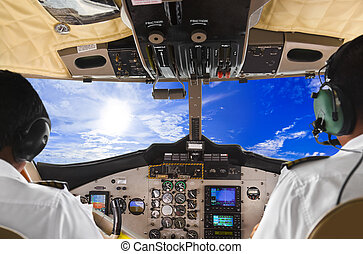 piloty, w, przedimek określony przed rzeczownikami, samolot, kokpit, i, niebo
